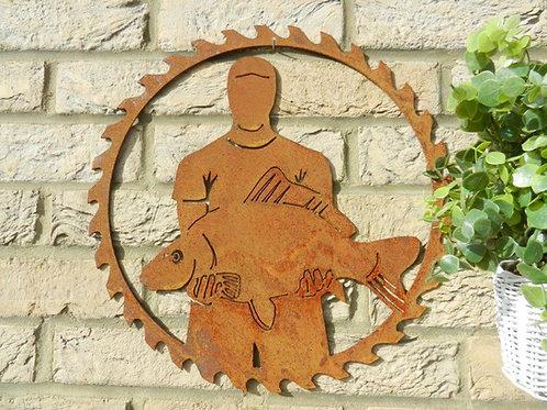 Rusty Metal Fisherman Decor