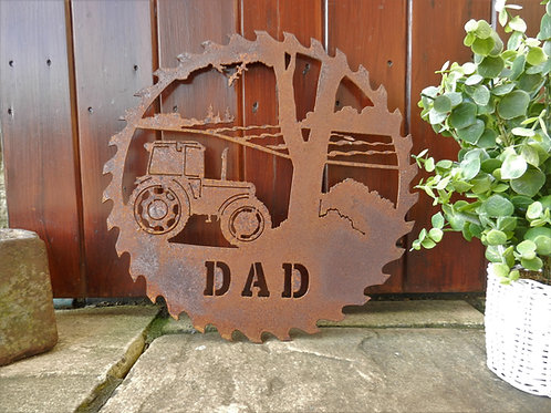 Rusty Metal Dad Tractor Wall Art Gift