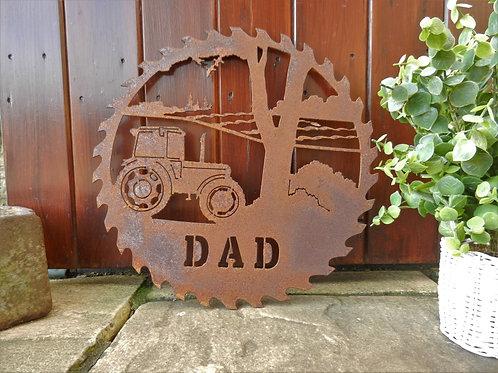 Rusty Metal Dad Tractor Wall Art Gift