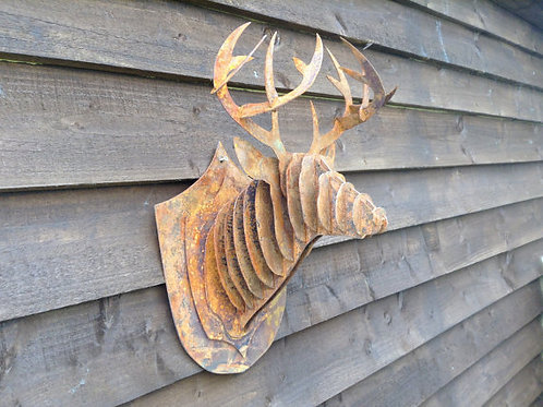 Rusty Metal 3D Stag Head Statue