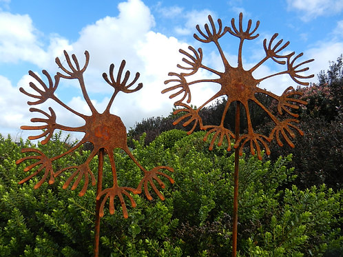 Rusty Metal Dandelion Seed Head Sculpture