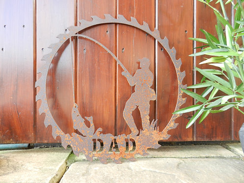 Rusty Metal Dad Fisherman Wall Art Gift