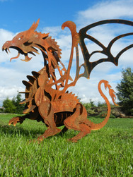 Rusty Metal Dragon Sculpture