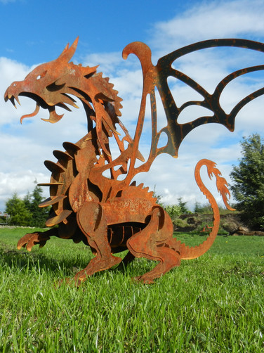 Rusty Metal Dragon Sculpture