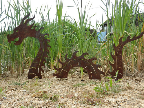 Rusty Metal Sea Serpent / Dragon Sculpture