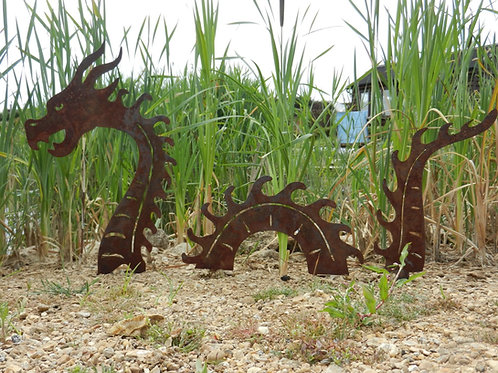 Rusty Metal Sea Serpent / Dragon Sculpture