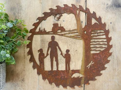 Rusty Metal Dad, Son & Daughter Farming Scene