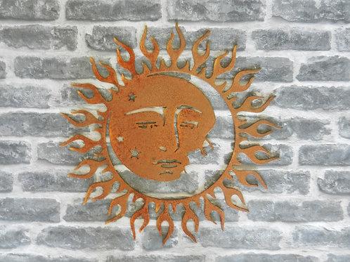 Rusty Metal Sun Moon Star Wall Art Large