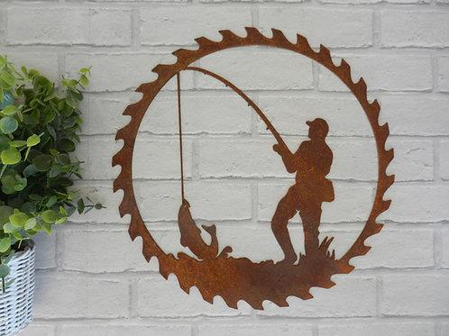 Rusty Metal Fisherman Wall Art