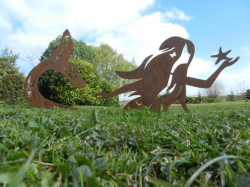 Rusty Metal Mermaid Sculpture