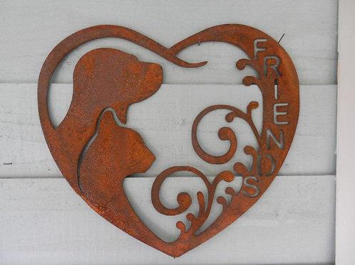 Rusty Metal Heart Cat & Dog Wall Art