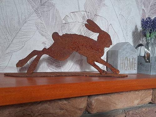 Mini Rusty Metal Running Hare