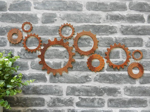 Rusty Metal Cogs Industrial Wall Art