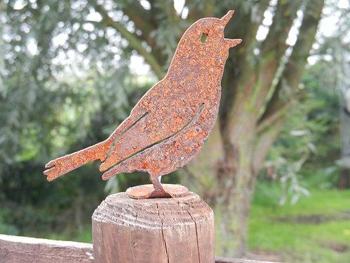 Rusty Metal Bird Songbird Fence Post Topper