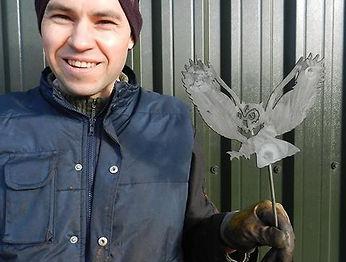 Steven Raven featured in Wisbech Standard for his rusty metal garden sculptures