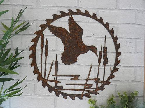 Rusty Metal Duck Pond Saw Blade Wall Art