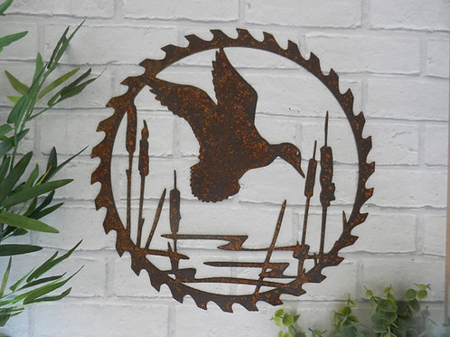 Rusty Metal Duck Pond Saw Blade Wall Art