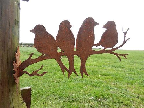 Rusty Metal 4 Birds Decorative Wall Art