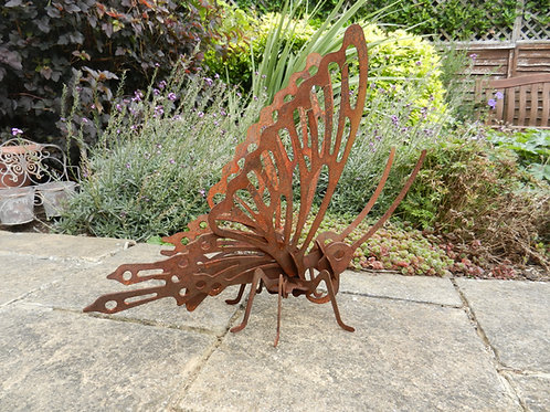 Rusty Metal Large 3D Butterfly Sculpture