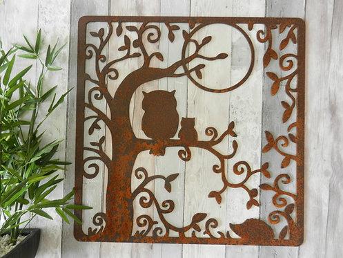 Rusty Metal Owl in Tree Wall Art Large 60cm