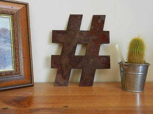 Rustic Metal Letters - # HASHTAG Garden Decor