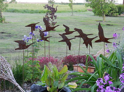 Rusty Metal Geese Garden Sculpture