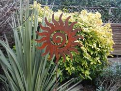 Rusty Metal Sun Swirl on Stake