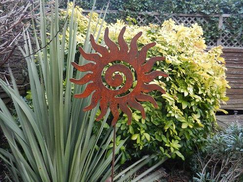 Rusty Metal Sun Swirl on a Stake