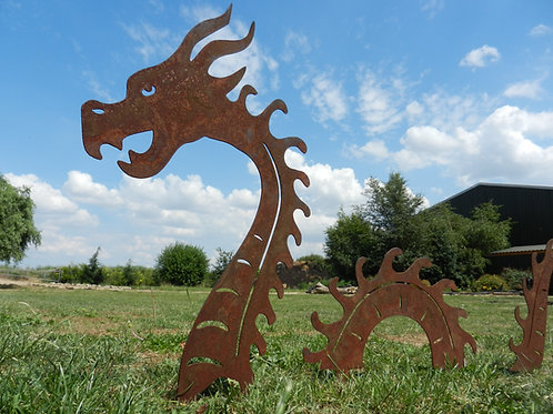Rusty Metal Sea Serpent Sculpture - EX large