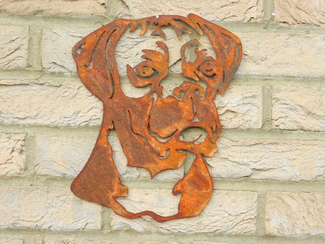 Rusty Metal Dog Head - Boxer Gift