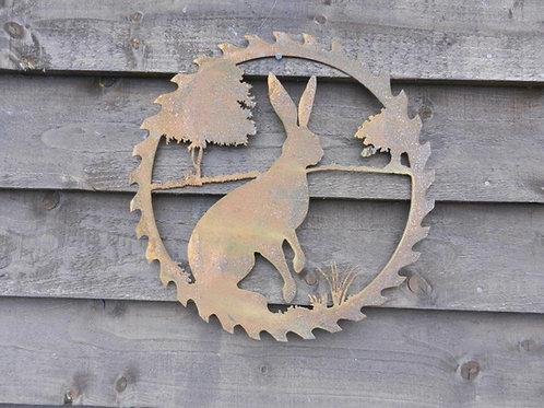Rusty Metal Sitting Hare Decorative Wall Art