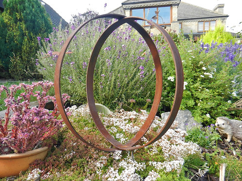 Rusty Metal Rings Sculpture