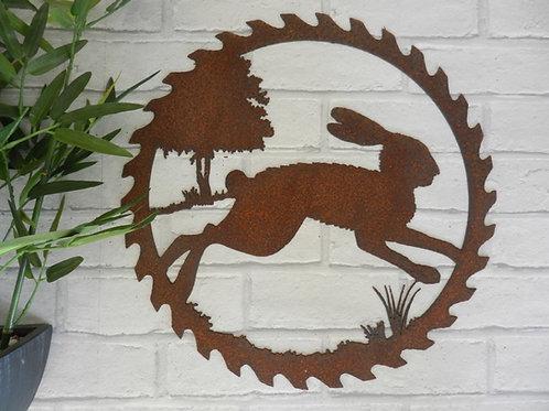 Rusty Metal Running Hare Wall Art