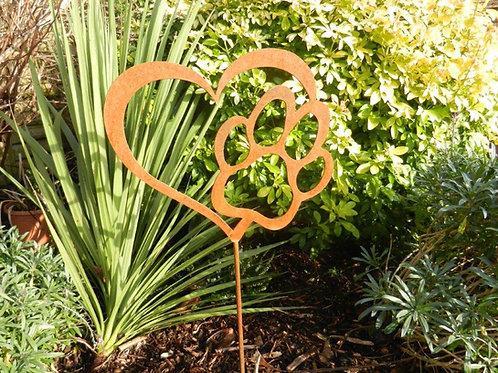 Rusty Metal Pet Paw Heart Memorial