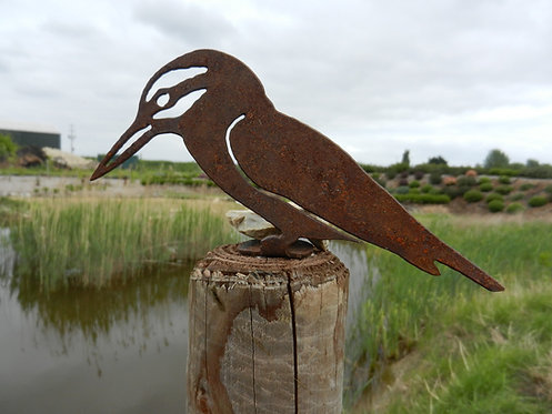 Rusty Metal Kingfisher Fence Post Topper
