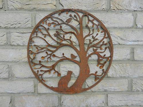 Rusty Metal Cat & Bird in Tree Wall Art
