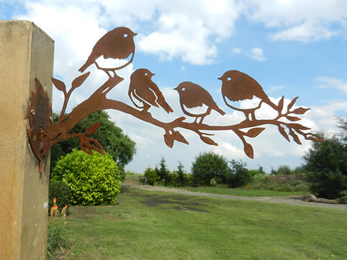 Rusty Metal Robin Family Wall Art
