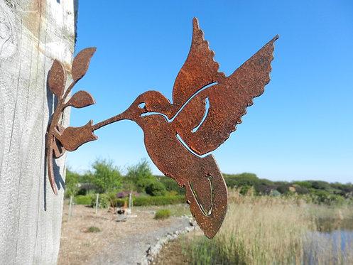 Rusty Metal Hummingbird Garden Decor