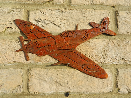 RAF Spitfire WW2 plane Rusty Metal Wall Art - small
