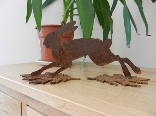 Mini Rusty Metal Running Hare