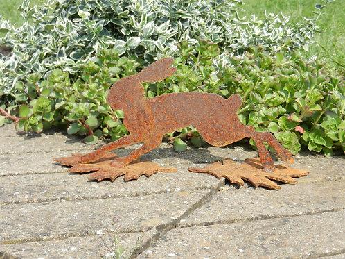 Mini Rusty Metal Running Hare on a leaf