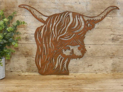 Rusty Metal Highland Cow Head