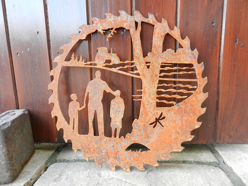 Rusty Metal Dad & Sons Farming Scene