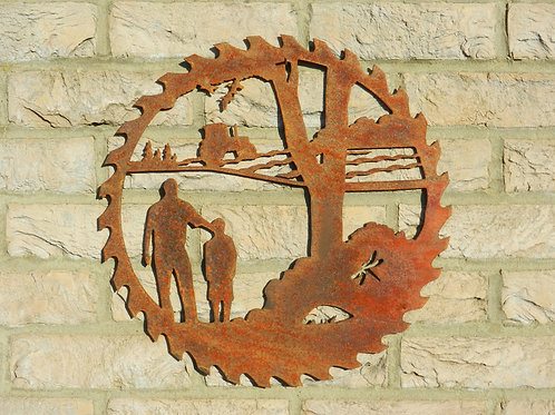 Rusty Metal Dad Farming Scene Wall Art Gift
