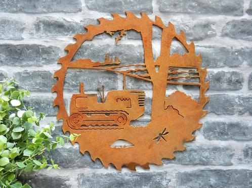 Rusty Metal Crawler Tractor Wall Art
