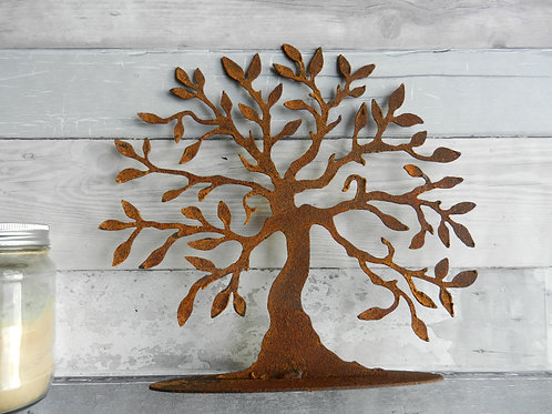 Rusty Metal Tree of Life Sculpture Med