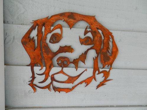 Rusty Metal Golden Retriever Head