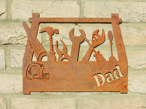 Rusty Metal Dads Shed / Garage Sign