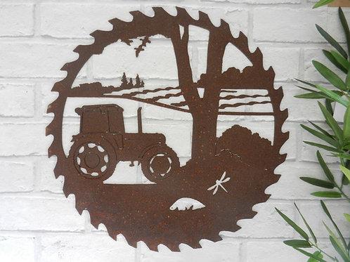 Rusty Metal Tractor Saw Blade Wall Art (Modern)