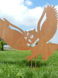 Rusty Owl Sculpture